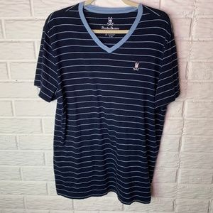 Psycho Bunny Striped Pima Cotton T Shirt Medium